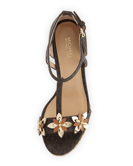 Image 3 of 3: Heidi Floral Logo Wedge Sandal, Brown