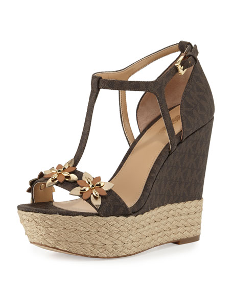 Image 1 of 3: Heidi Floral Logo Wedge Sandal, Brown