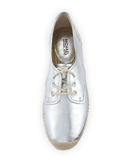 Hastings Lace-Up Espadrille Flat, Silver