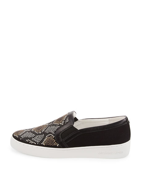michael michael kors leo beaded suede slip on sneaker gray multi. Black Bedroom Furniture Sets. Home Design Ideas