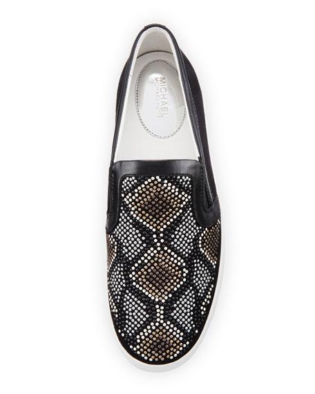 Leo Beaded Suede Slip-On Sneaker, Gray/Multi