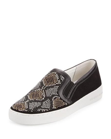 Leo Beaded Suede Slip-On Sneaker, Gray/Multi