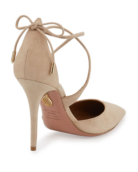 Matilde Crisscross Suede 105mm Pumps, Nude
