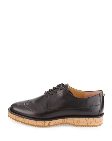 Zane Leather Lace-Up Oxford, Black