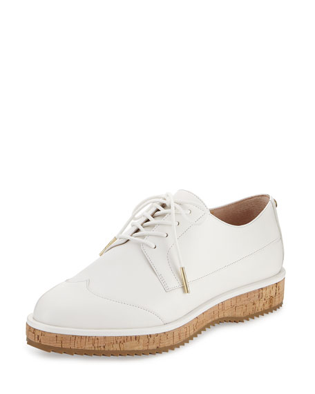 Zane Leather Lace-Up Oxford, Optic White