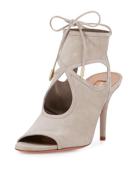 Aquazzura Sexy Thing Suede 85mm Sandal, Light Gray