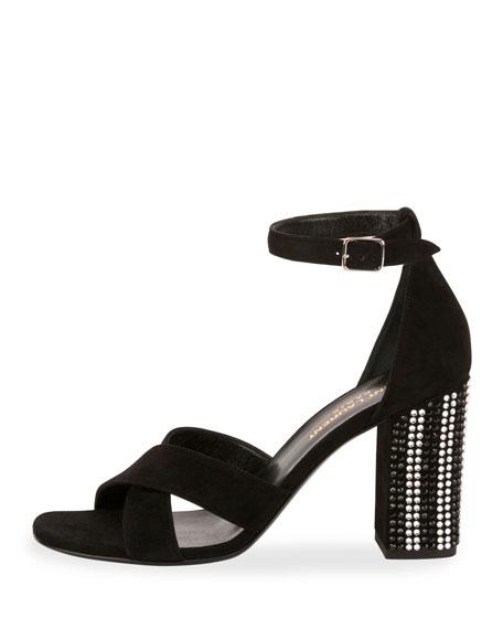 Babies 90mm Crystal-Heel Sandal, Nero
