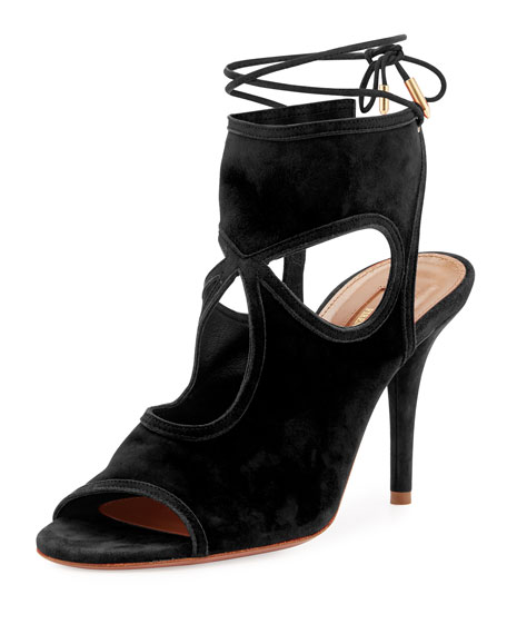 Aquazzura Sexy Thing Suede 85mm Sandal, Black