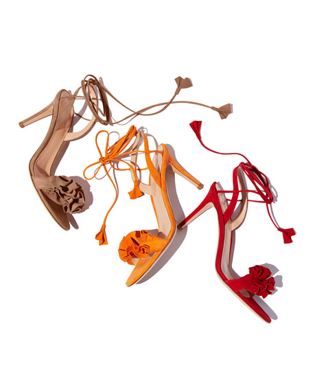 Flora Ruffled Suede Lace-Up 85mm Sandal