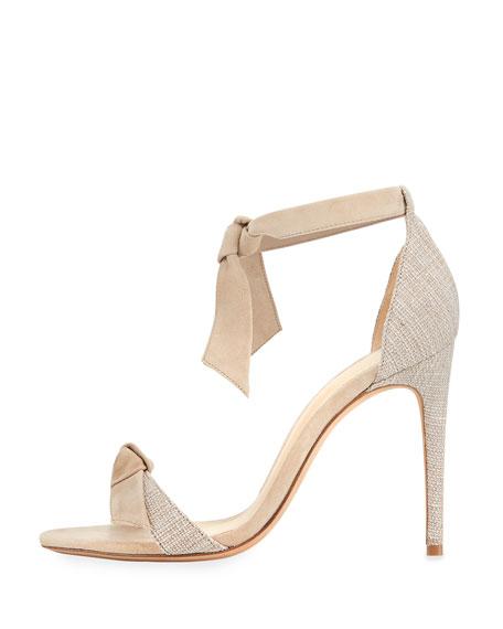 Clarita Suede & Linen 100mm Sandal, Soft Beige