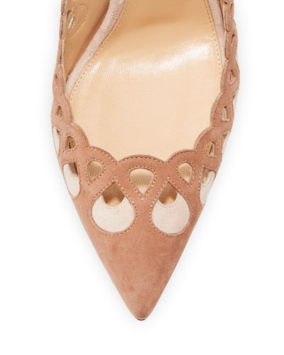 GIANVITO ROSSI Suedes LASER-CUT ANKLE-WRAP 105MM PUMP, PRALINE/ROSA