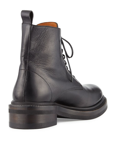 Alice Leather Combat Boot, Black