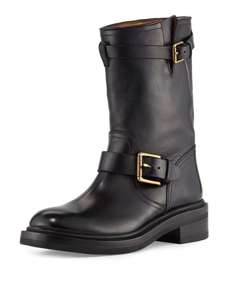 Alice Engineer Leather Boot, Black