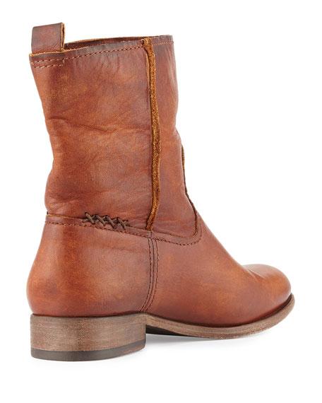 Cara Short Leather Boot, Cognac
