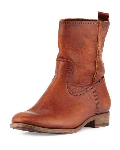 Frye Cara Short Leather Boot, Cognac