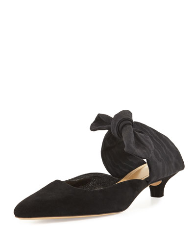 'Coco' Grosgrain Ribbon Kitten Heel Suede Mules in Black