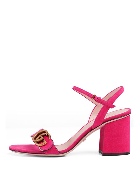 Marmont Suede 75mm Sandal, Pink