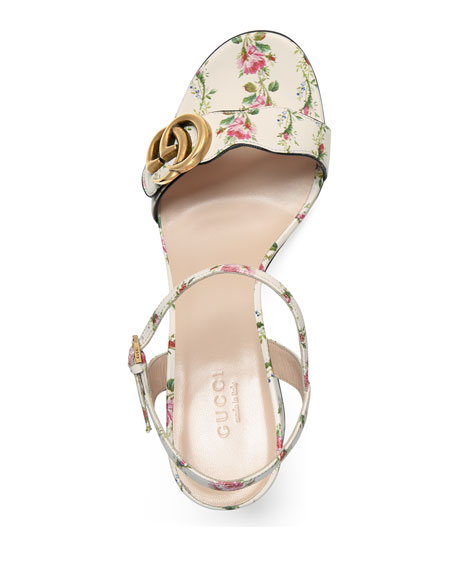 Marmont Rose 75mm Sandal, Floral/White