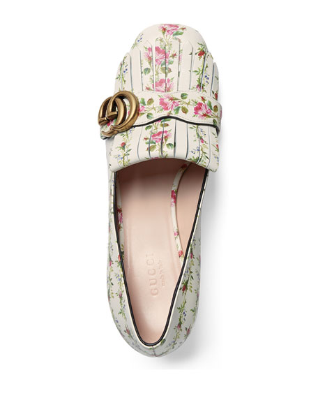 337e58c75 Gucci Marmont Fringe Rose 55mm Loafer, Floral/White | Neiman Marcus