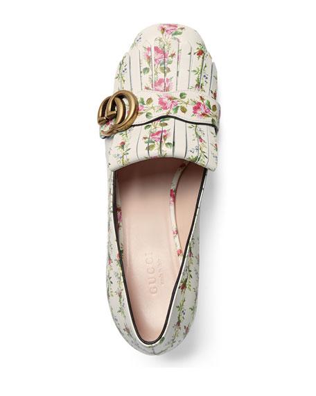Marmont Fringe Rose 55mm Loafer, Floral/White