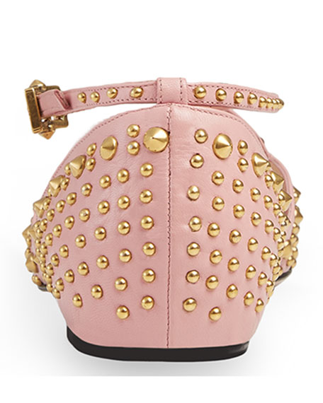 Unia Spiked Leather Flat, Perfect Pink
