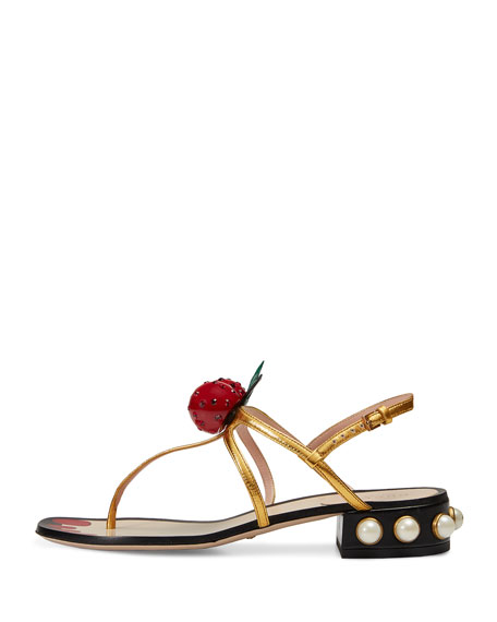 Hatsumomo Cherry T-Strap Sandal, Gold