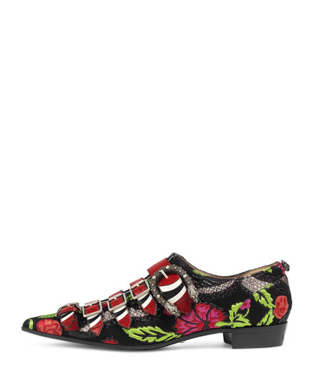 Susan Brocade Buckle Oxford, Black Floral
