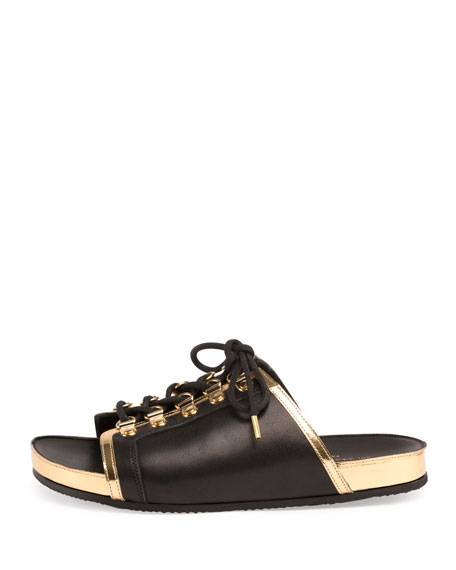 Balmain Leather Lace-Up Slides Clearance Top Quality wk5onB21