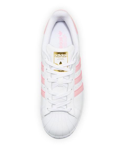 Superstar Original Fashion Sneaker, White/Pink
