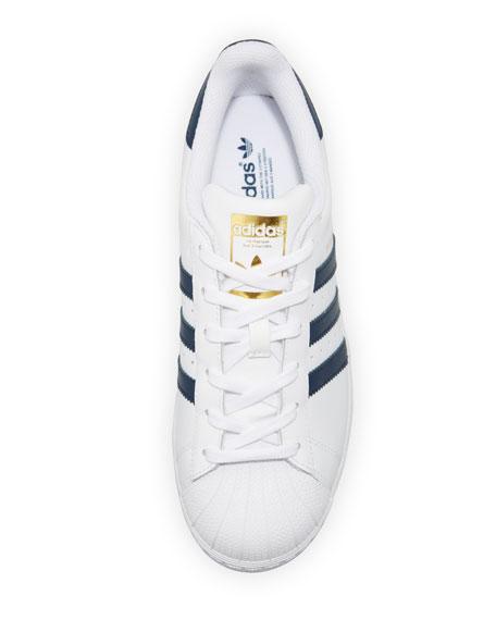 Superstar Original Fashion Sneaker, White/Navy