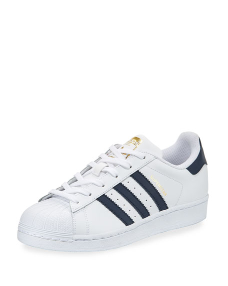 Adidas Superstar Original Fashion Sneaker, White/Navy