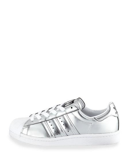 Superstar Metallic Leather Sneaker, Silver