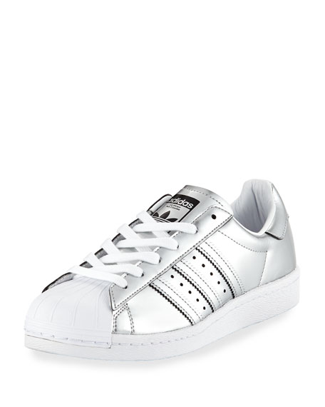 Adidas Superstar Metallic Leather Sneaker, Silver