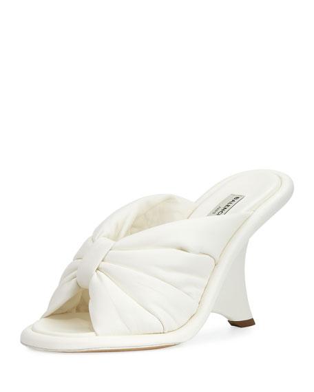 Bow Wedge 110mm Slide Sandal, Ivory