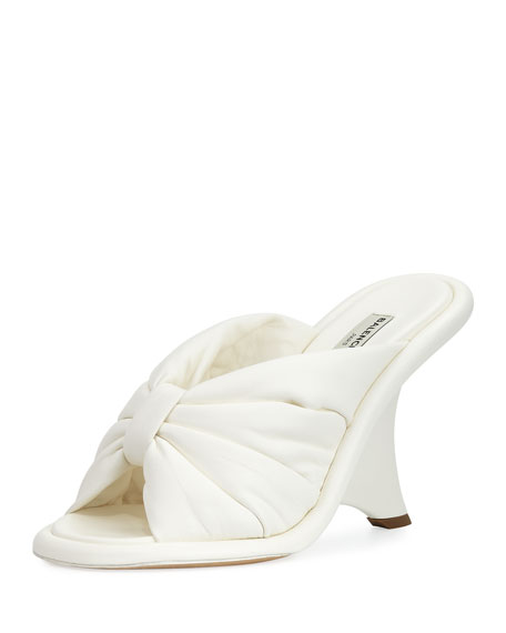 Balenciaga Bow Wedge 110mm Slide Sandal, Ivory