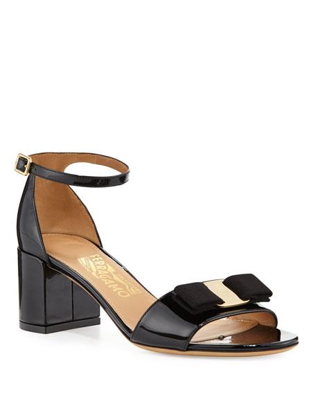Salvatore Ferragamo Gavina Bow Patent City Sandal, Nero