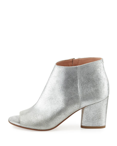 Chunky-Heel Open-Toe Booties, Silver/Gray