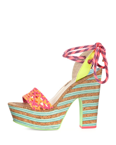 Jade Ankle-Wrap Platform Sandal, Fluorescent Orange/Multi