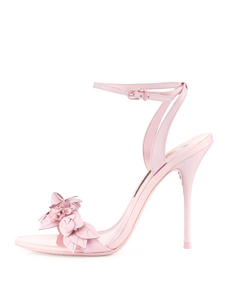 Lilico Floral Leather 100mm Sandal, Pink