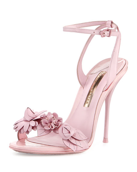 Sophia Webster Lilico Floral Leather 100mm Sandal, Pink