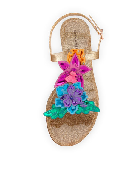Hula 3D Floral Jelly Flat Sandal, Gold