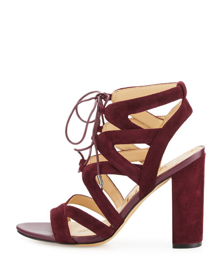 Yardley Suede Lace-Up Sandal, Port Wine