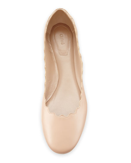 Lauren Scalloped Leather Ballet Flats, Light Pink