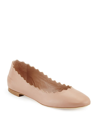 Scalloped Leather Ballerina Flat, Light Pink