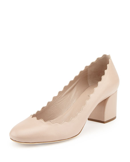 Chloe Scalloped Leather Pump, Light Pink