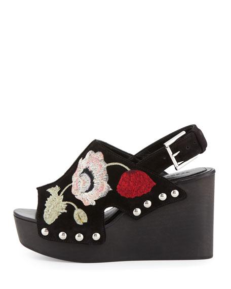Floral Suede Platform Wedge Sandal