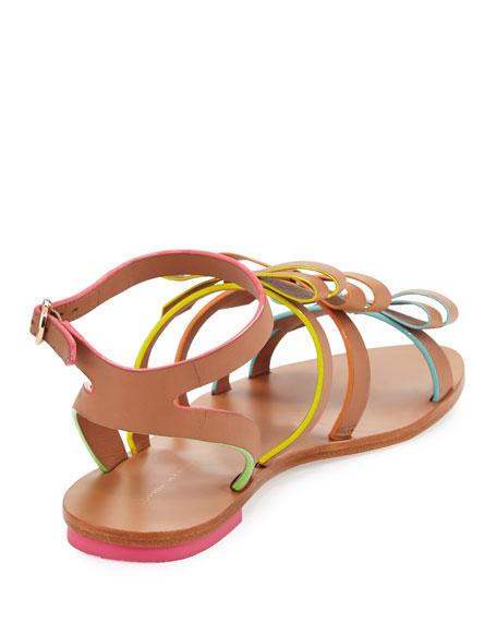 Samara Flat Bow-Detail Sandal, Tan/Multi