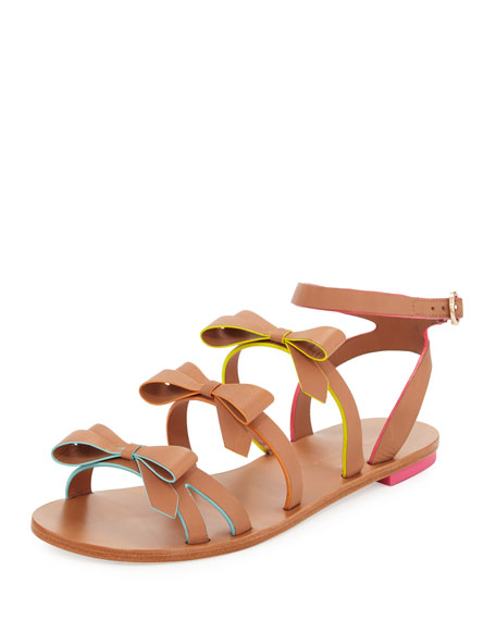 Sophia Webster Samara Flat Bow-Detail Sandal, Tan/Multi