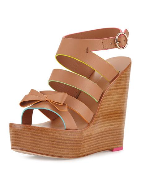 Sophia Webster Samara Strappy Wedge Sandal, Tan