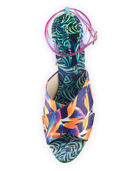 Effie Tropical-Print Platform Sandal, Navy/Green